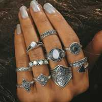 10 Pcs Women Casual Ring Set Rhinestones Gem Knuckle Rings