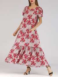 Holiday Floral Print Short Sleeve Pleated Long Dress
