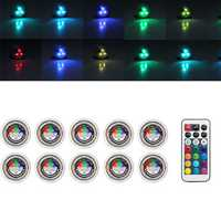 10X Remote Control Waterproof RGB Submersible LED Candle Tea Light Table Lamp Decoration
