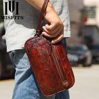 Men Genuine Leather Vintage Large Capacity Handbag Wallet