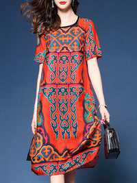 Women Red Retro Printed Crew Neck Long Sleeve Silk Dress