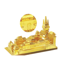 MU DIY 3D Metal Jing'an Temple 165*97*98mm Puzzle Model Toys Golden Color Kids Adults Collection Gift