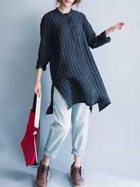 Women Striped Buttons Tunic Irregular Hem Long Shirt Dress