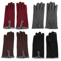 Women Female Cotoon Spandex Velvet Driving Screen Touch Gloves Plush Riding Mittens