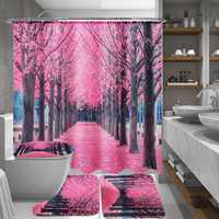 Sakura Floral Waterproof Bathroom Shower Curtain Seat Lid Cover Bath Mat Hook