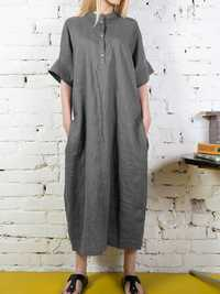 Stand Collar Button Long Shirt Solid Color Maxi Dress
