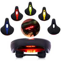 BIKIGHT MTB Bike Comfort Saddle Cushion Pad Seat Bicycle Cycling LED Tail Flashing Light
