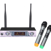 VHF Wireless Microphone Receiver 2 Channel Transmitter System Two Handheld Microphone