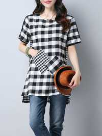 Women Casual Plaid High Low Hem Short-Sleeve T-Shirts