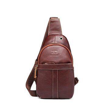 Cowhide Genuine Leather Sling Bag Vintage Chest Bag Solid Shoulder Bag For Men