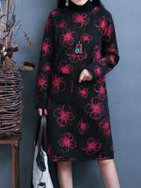Vintage Women Printed Winter Dress