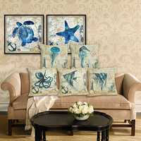 45*45cm Sea Creature Pillow Case Octopus Seahorse Conch Print Cushion Cover Linen Throw Pillow