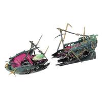 Yani Aquarium Ornament Fishing Boat Decoration Shipwreck Boat Plant for Fish Tank