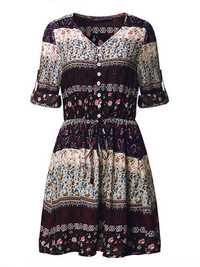 Bohemian Women V-Neck Floral Printed Button Mini Dresses