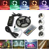 5M SMD5050 Waterproof RGB 300 LED Strip Flexible Light Kit + IR Controller + Power Adapter DC12V