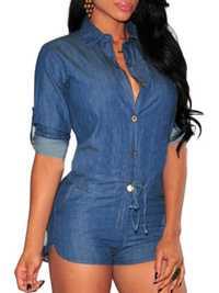 Belt Sexy Denim Blue Long Sleeve Lapel Button Pocket Women Short Jumpsuits