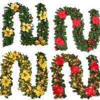 2.7M DIY LED Lights Christmas Garland PVC Rattan Ornament Merry Christmas Rattan Cane Wreath