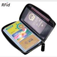 RFID Genuine Leather 60 Card Slots Purse Multi-slots Wallet