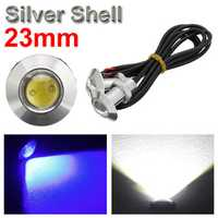 23mm Motor Car Eagle Eye LED Daytime Running Lights Fog Parking Light DC12V Silver Shell