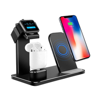 3 In 1 Aluminum Alloy Qi Wireless Charger Fast Charging Phone Holder For iPhone Samsung Apple AirPods Apple Watch Series