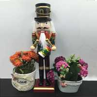 30cm Wooden Nutcracker Doll Soldier Vintage Handcraft Decoration Action Figure Gifts