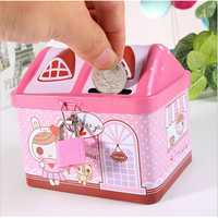 Cute Kids Stationery Gift Creative House Design Piggy Bank Money Saving Parts Storage Box