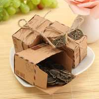 50pcs Kraft Paper Box Airplane Mail Candy Box Rustic Wedding Favors Shabby Vintage Gift Packing Bags