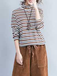 Casual Women Long Sleeve Striped Turtleneck Cotton T-shirt