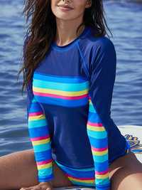 Blue Split Long-Sleeved Sun Protection Surf Suit Tankinis