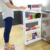 DIY Removable Creative Bathroom Kitchen Storage Shelves Crevice Shelf Household Rack Holder Room