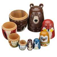 5 Nesting Dolls Wooden Aniimal Bear Russian Doll Matryoshka Toy Decor Kid Gift