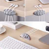 4 Cable Slots Jelly Durable Desktop Earphone Date Cable Holder Cord Management Cable Organizer