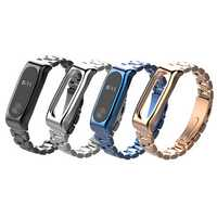 Mijobs Classic Three-bead Wristband Replacement Metal Watch Band for Xiaomi mi band 2 Smart Watch