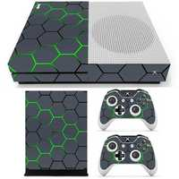 Green Grid Vinyl Decal Skin Stickers Cover for Xbox One S Game Console&2 Controllers