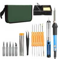 60W Adjustable Electric 200~450℃ Temperature Welding Soldering Iron Tool Kit Set US Plug/UK Plug