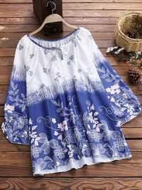 Plus Size Floral Print V-neck Women Tops Blouse