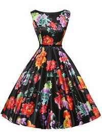Hepburn Wind Floral Printed Sleeveless Dress