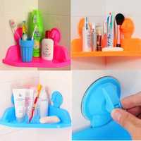 Multifunction Bathroom Kitchen Plastic Storage Corner Rack Sundries Holder Strong Sunction