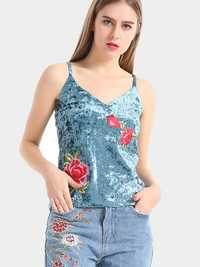 Blue Sexy Velvet Flower Embroidered V-Neck Spaghetti Strap Women Tank Tops
