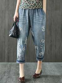 Vintage Embroidery Elastic Waist Pocket Denim Jeans
