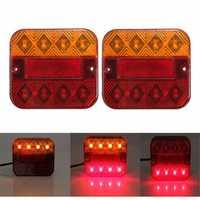 LED Taillight Turn Signal Lights Brake Stop Lamp Red Amber 10-30V 9.3x10.2cm for Truck Trailer