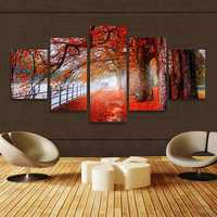 5 Cascade Autumn Red Tree Abstract Canvas Wall Painting Picture Home Decoration Unframed