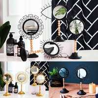 Modern Table Iron Make-up Mirrors Handheld Geometric Bedroom Bathroom Ornament Decor