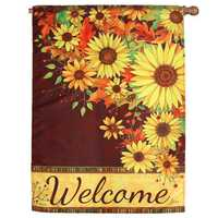 39''x 28'' Sunflowers Welcome Autumn Garden Flag Banner Home House Decorations