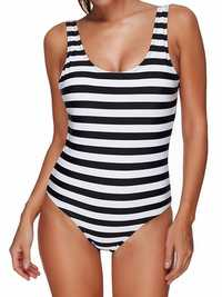 Striped Backless Padded Slim Fit One Piece Swimsuit