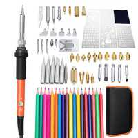 79Pcs 220V Wood Burning Pen Set Stencil Soldering Tips Tools Pyrography Solder Iron Kit