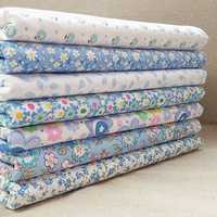 7Pcs/Set Cotton Fabric Blue&White Handmade DIY Sewing Cloth
