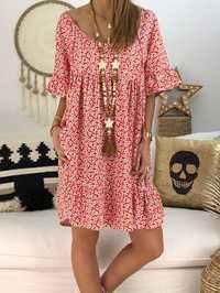 S-5XL Women Loose Floral Print Short Sleeve Dress