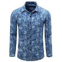 Denim Printed Fashion Casual Stylish Turn-down Collar Shirt For Men