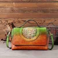 Women Vintage Hand-brush Color Handbag Floral Embossed